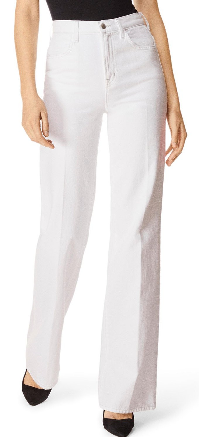 J Brand Joan High Rise Wide Leg Jeans in White JB002039