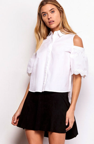 BB Dakota Elora Cold Shoulder Blouse in Optic White BI104027