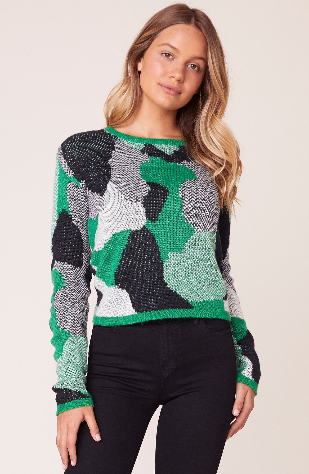 BB Dakota Blending Abstract Camo Sweater Bright Green BJ306629