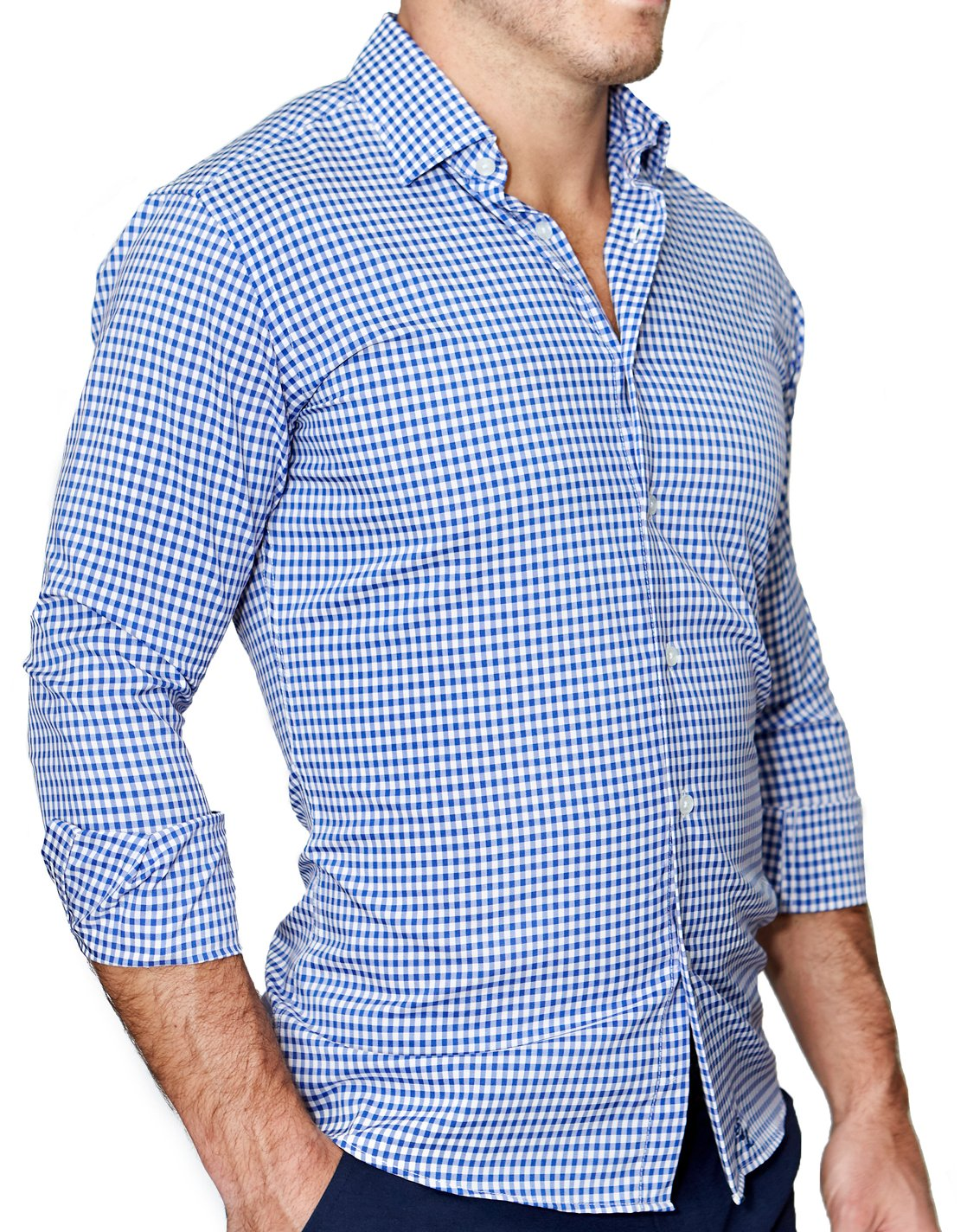 "State of Liberty ""The Bonino"" Blue Gingham Button Down"