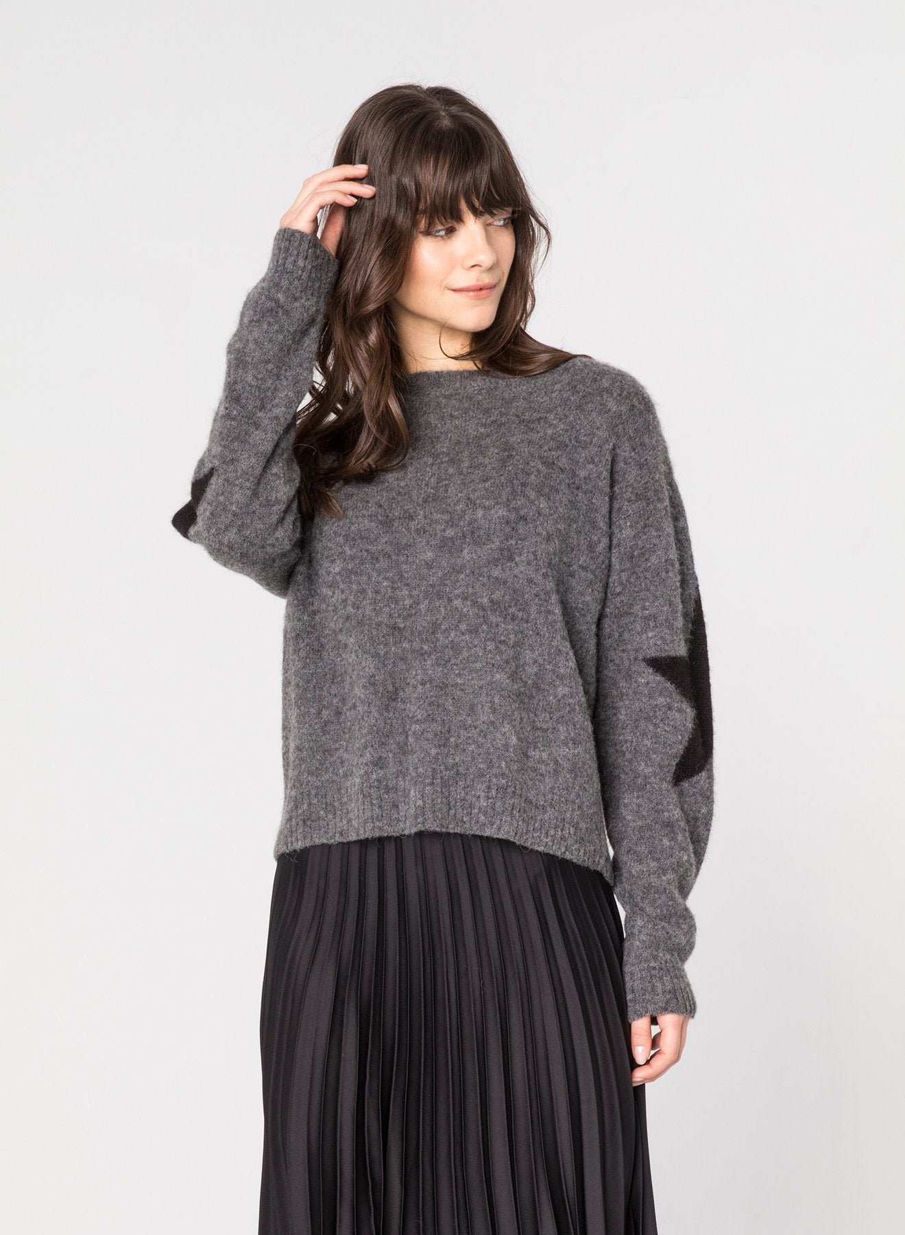 Chrldr SLEEVE STAR - Dropped Shoulder Sweater CL11562