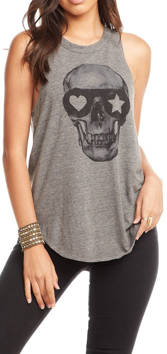 Chaser Brand Painted Skull Triblend Shirttail Tank CW6214-CHA4110