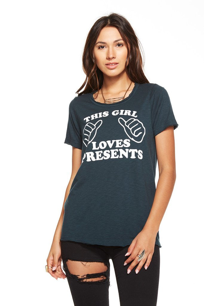 Chaser Brand This Girl Loves Presents Crew Neck Tee CW6237-CHA1900