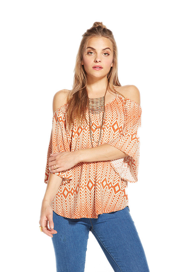 Chaser Off Shoulder Scarf Print Top CW6246-Scarf