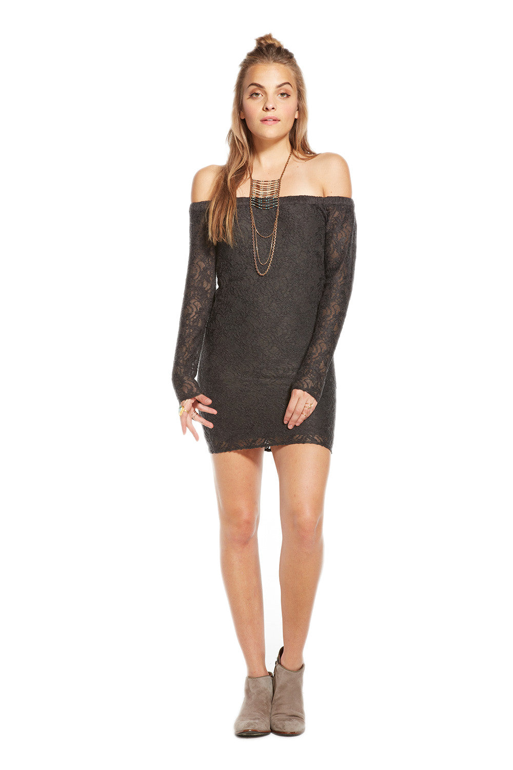 Chaser Off Shoulder Open Back Long Sleeve Mini Dress CW6258-VBLK