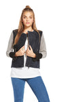 Chaser Collarless Leather Jacket CW6260-CLRBLK