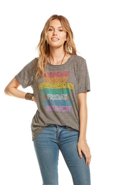 Chaser Brand Sunday Brunch Tee in Streaky Grey CW6458-CHA2339