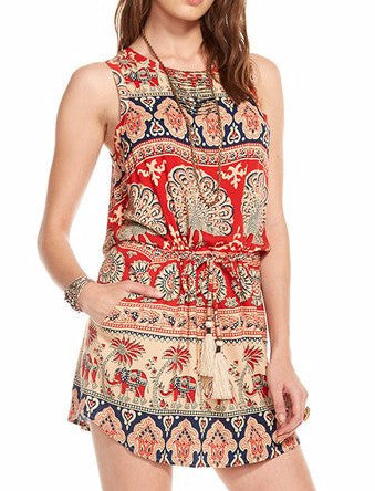 Chaser Brand Tapestry Drape Back Drawstring Waist Mini Dress CW6542