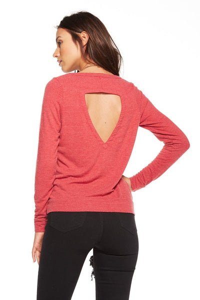 Chaser Brand I Heart Holidays Scoop Neck Cut Out Back Tee CW6643-CHA1893