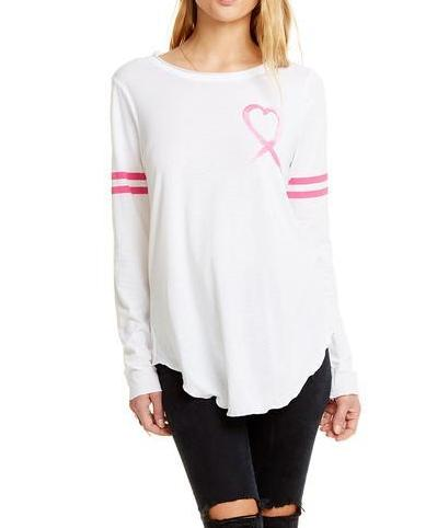 "Chaser Brand Breast Cancer ""Heart Ribbon"" Tee CW6670-CHA3454"