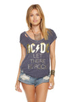 Chaser Brand ACDC Let There Be Rock Deconstructed Shirttail Scoop Neck Cap Sleeve Tee CW6719-ACD016