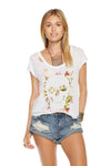 Chaser Brand Garden Skull Deconstructed Shirttail Scoop Neck Cap Sleeve Tee CW6719-CHA2107