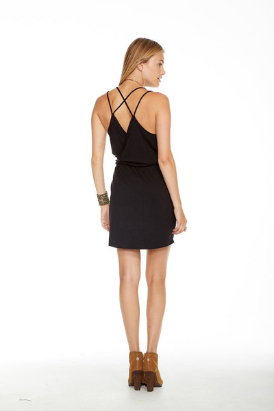 Chaser Brand Strappy Cross Back Surplice Mini Dress CW6737