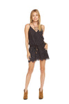 Chaser Brand Surplice Drawstring Waist Lace Mini Dress CW6755