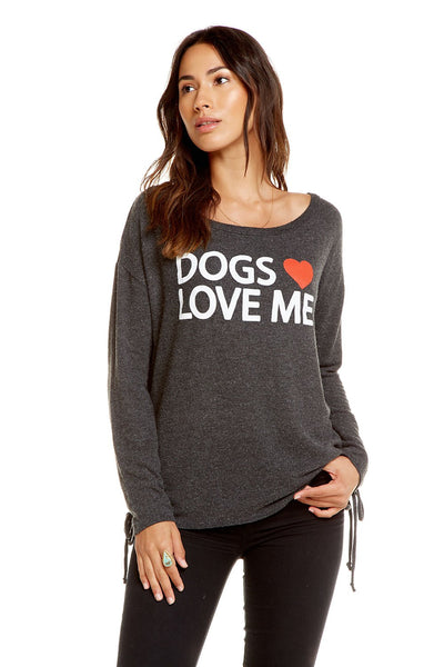 Chaser Brand Dogs Heart Me Pullover in Black CW6979-DOG001