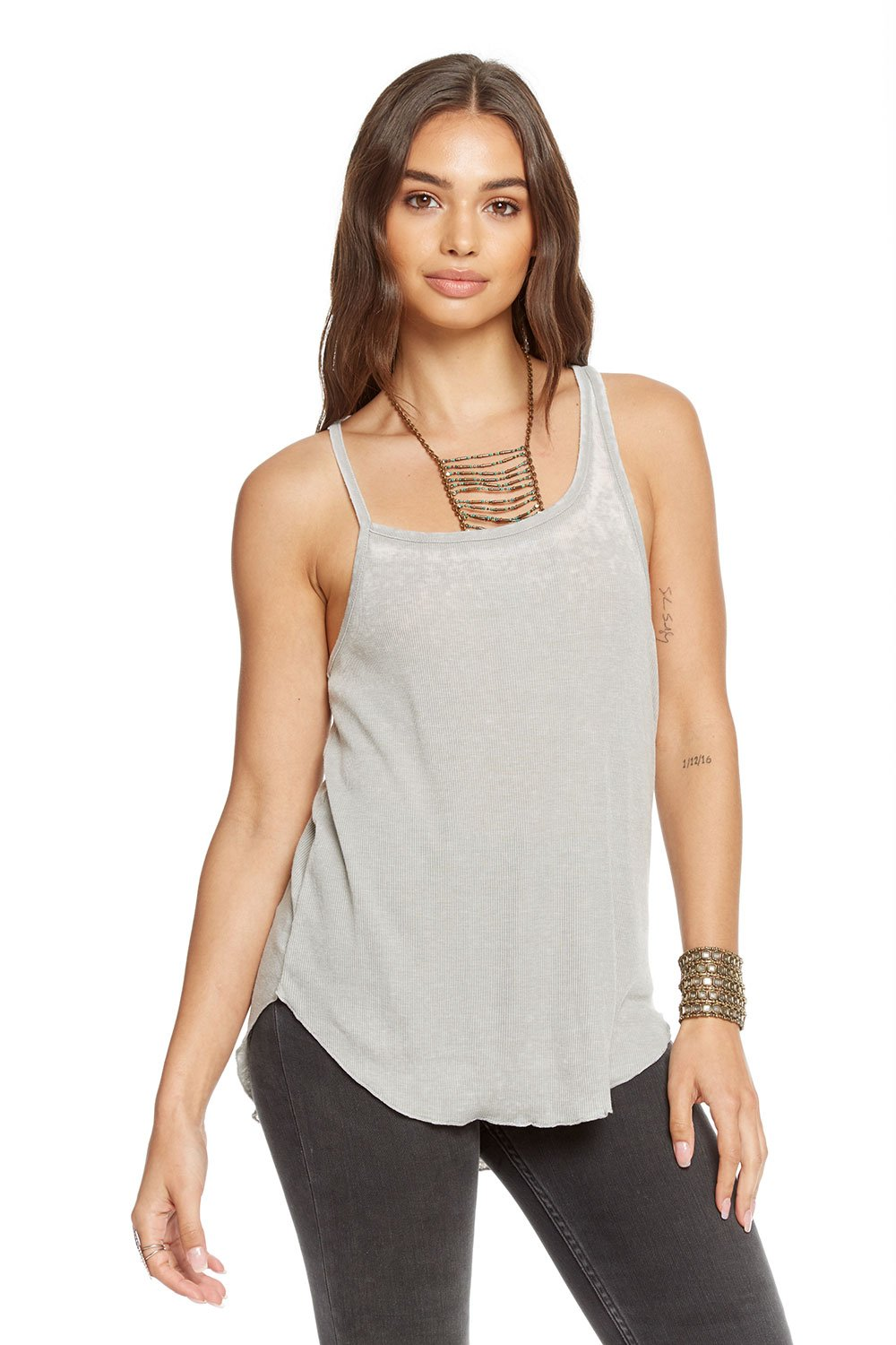 Chaser Brand Vintage Rib Asymmetrical Shirttail Tank in Moon CW7125