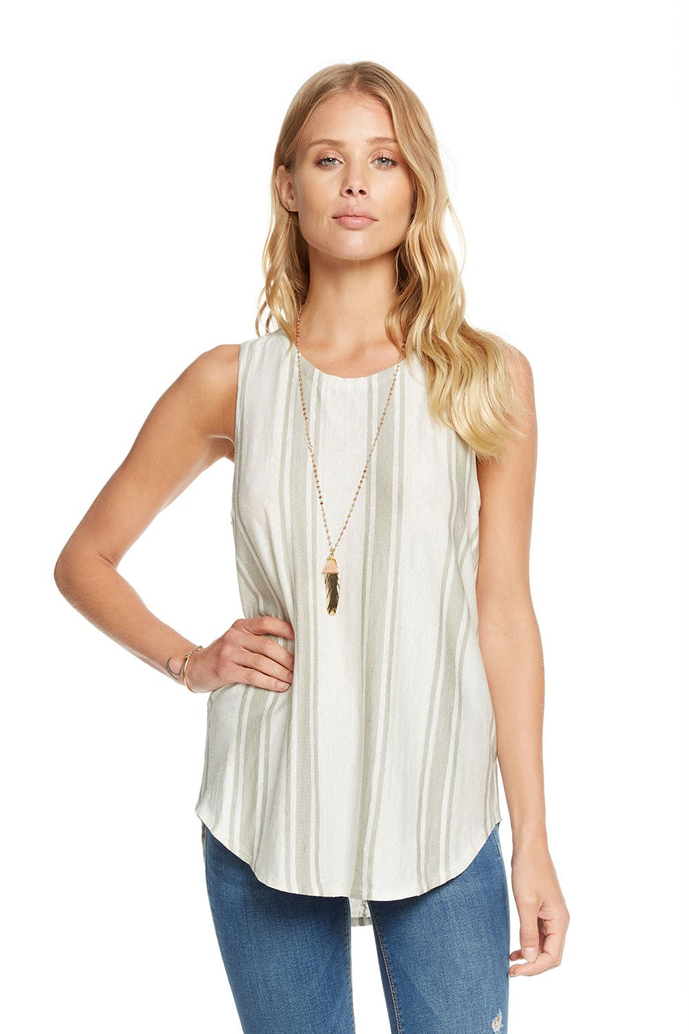 Chaser Brand Linen Jersey Lace Back Muscle Tank in Stripe CW7138