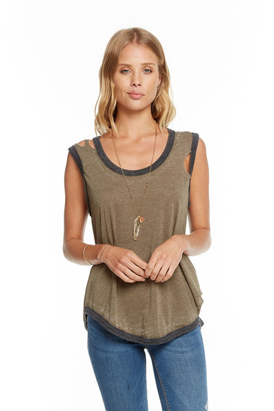 Chaser Deconstructed Roll Sleeve Scoop Neck Muscle CW7143