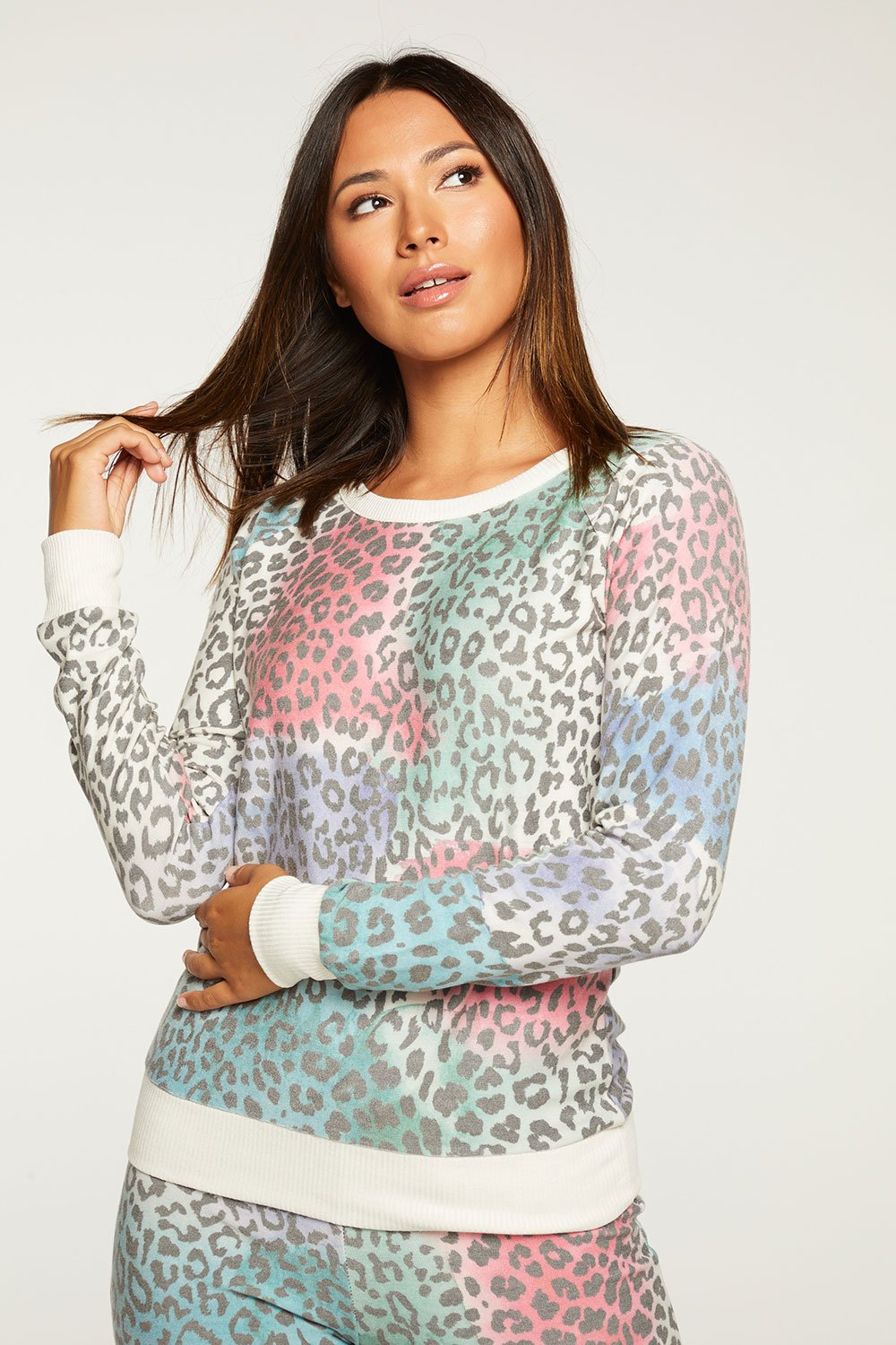 CHASER PAINTED LEOPARD LS TEE CW7533-CHA5855-CRM