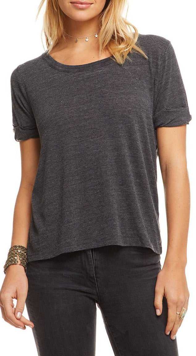 Chaser Brand Triblend Cropped Rolled S/S Knot Back Tee CW7705