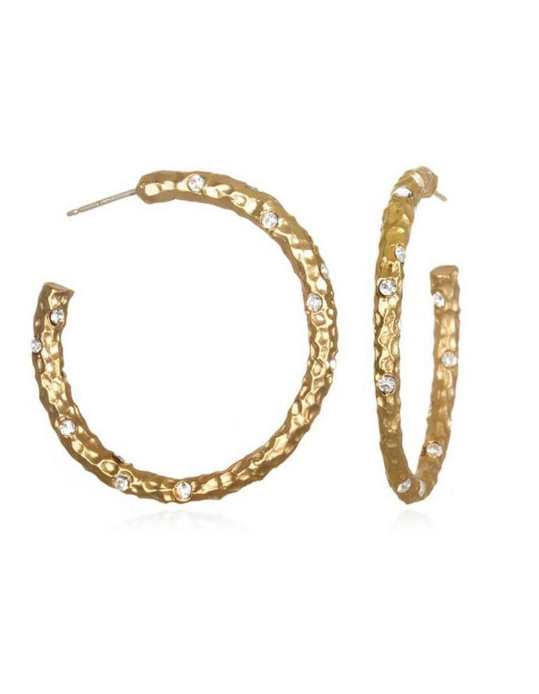 Tat2 Gold Hammered Hoops E038-GLD/CLR