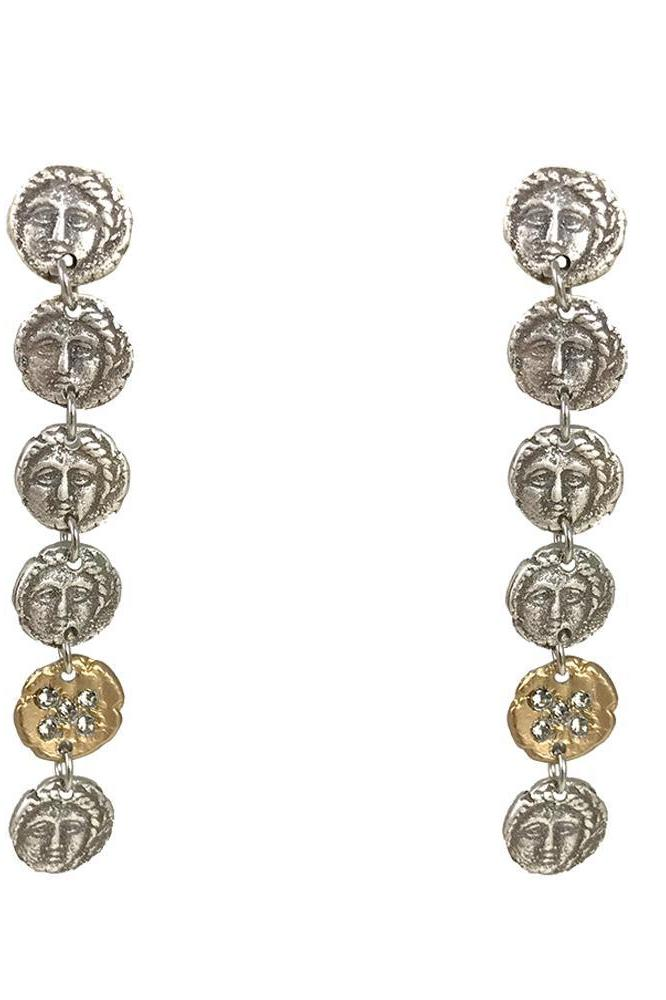 Tat2 Vintage Silver Apollonia Multi Coin Long Earrings E169-VS/G-BD