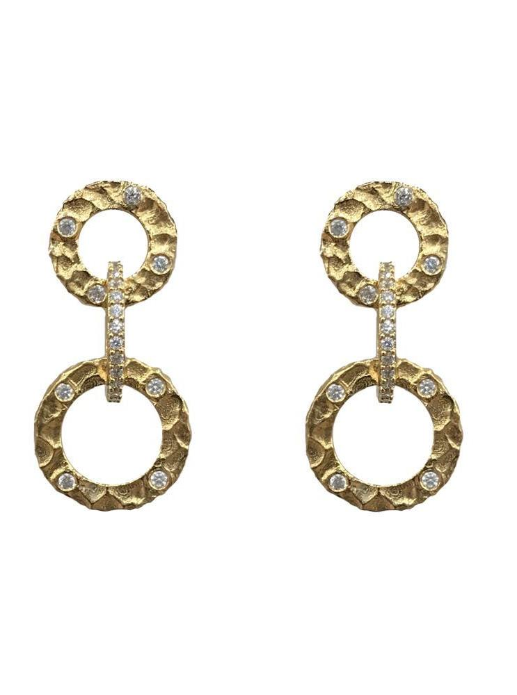 Tat2 Gold Volta Crystal Earrings E183-GLD/CLR