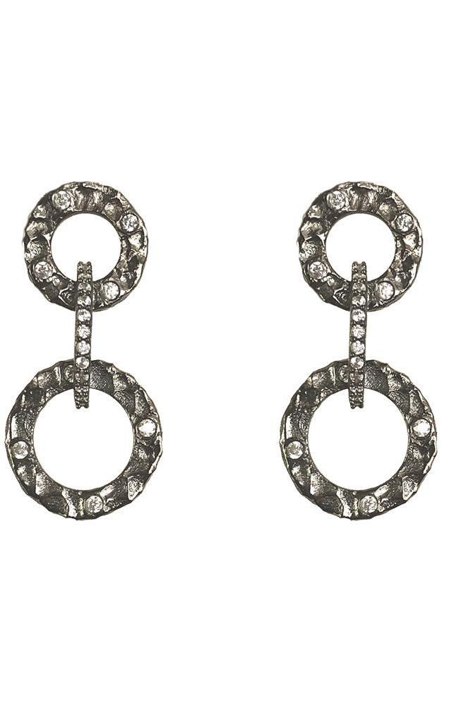 Tat2 Gunmetal Volta Crystal Earrings E183-GUN/CLR