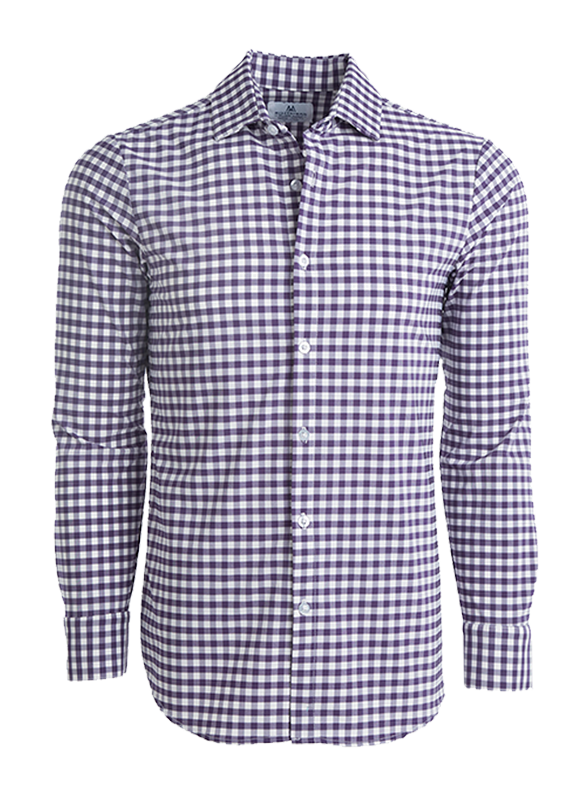 Mizzen + Main Eisenhower Large Purple Gingham Button Down Shirt L-6000