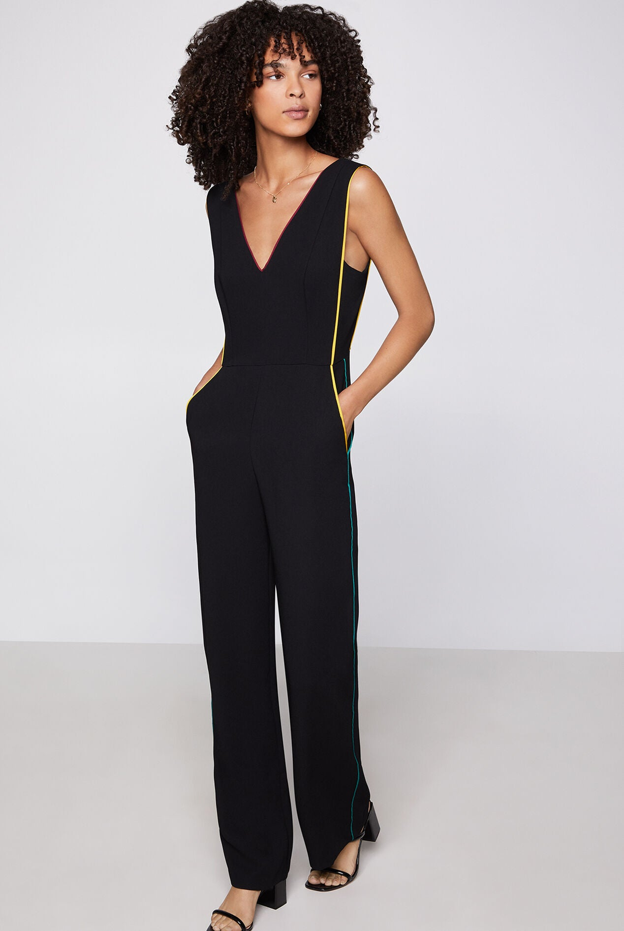 BCBG Buckle Strap Pleated Jumpsuit GEF9230979