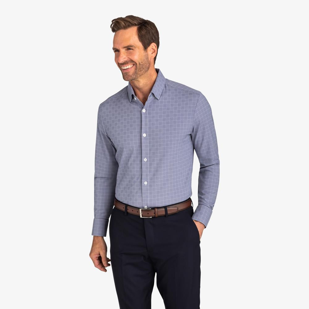 Mizzen+Main Garner Navy/White Checkered Grid TXT-1010