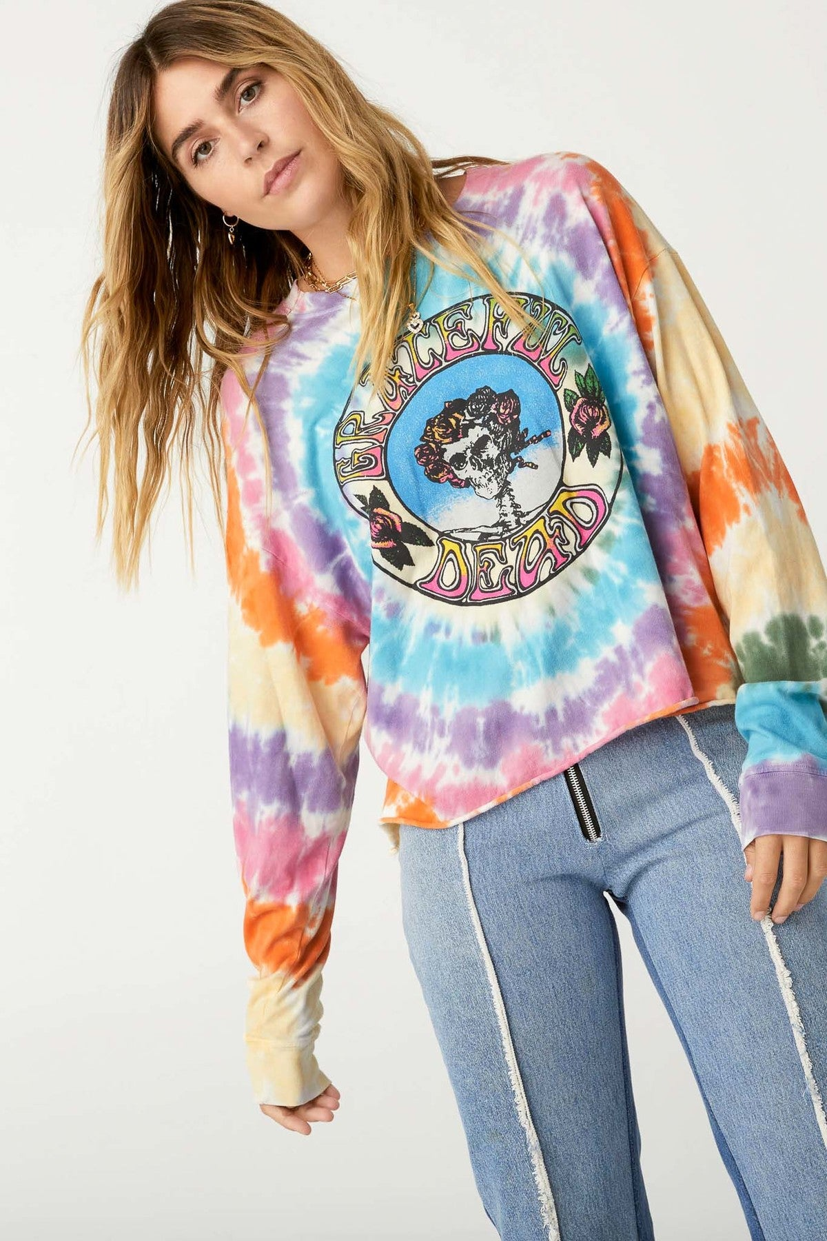 Daydreamer Grateful dead TIE DYE LS Crop Tee LS005GRA605D Black s-2 m-2 l-1