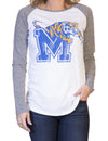 Retro Brand Women's Memphis Tiger's Long Sleeve Tee White w/ Heather Grey Arms RB1985 CMEM022A
