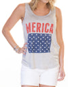 Retro Brand Women's MERICA Graphic Tank RB1975 RTF1609A
