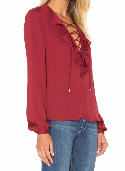 L'Academie The Ruffle Boho Blouse in Cabernet LAF16F019