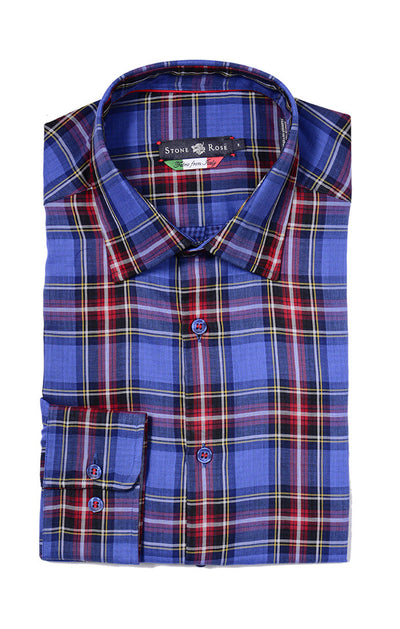 Stone Rose Double Faced Plaid Button Down Shirt LIN6103