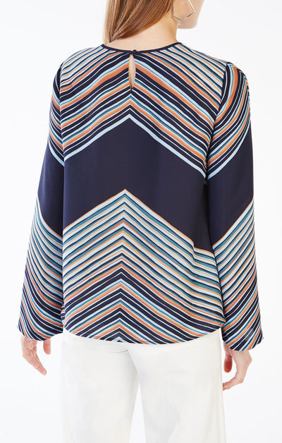 BCBGMAXAZRIA Cheri Striped Top in Dark Ink Combo MNZ1X014