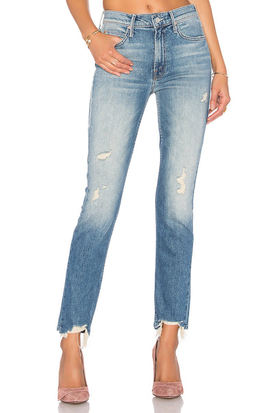 Mother Denim The Flirt Fray Jeans in Cold Feet 1072-259
