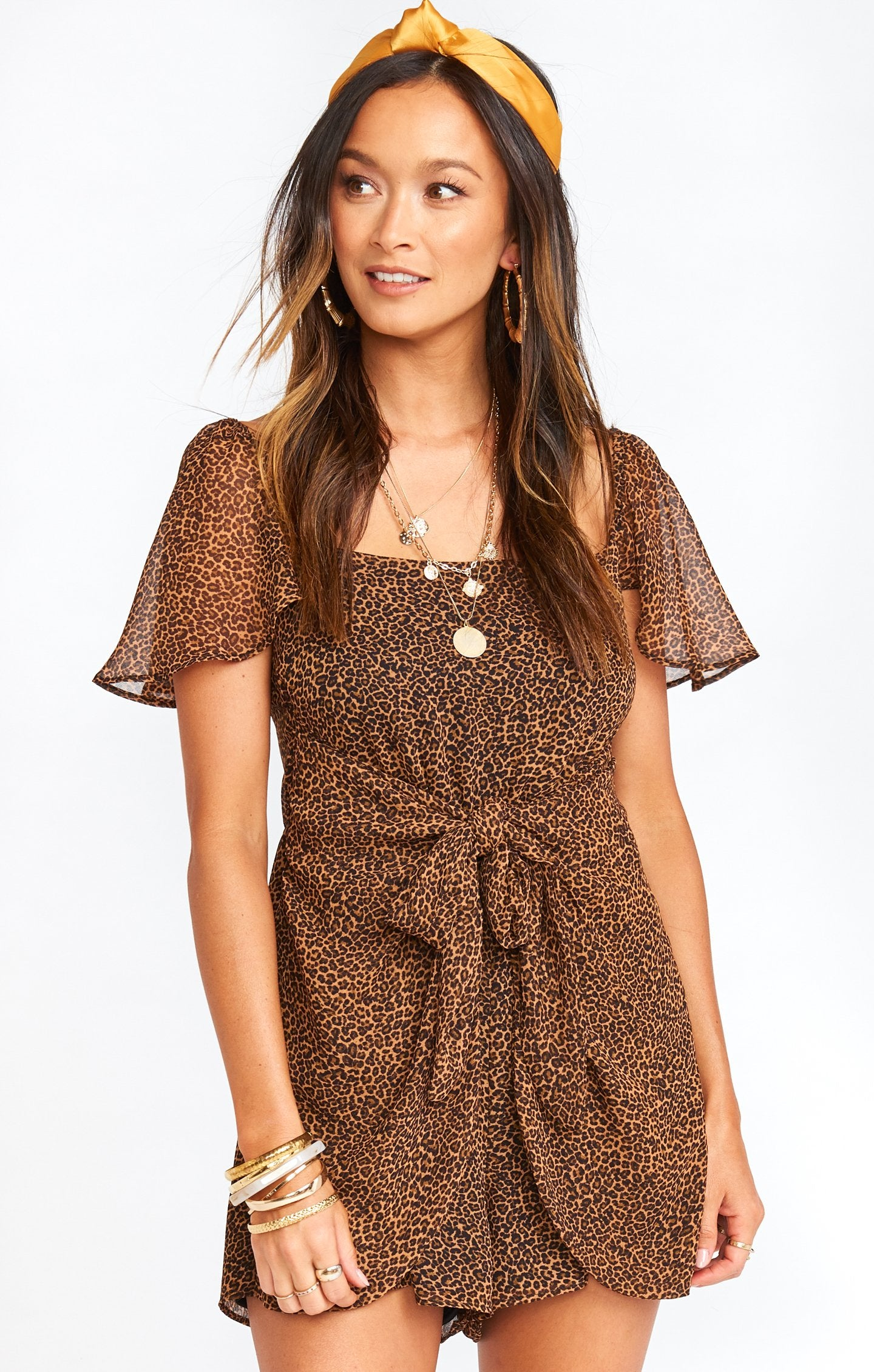 Show Me Your MUMU Kinsley Romper- Lucky Leopard MS0-4180