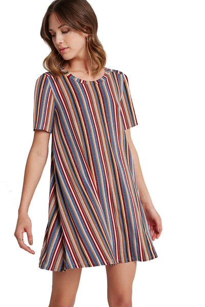 BCBGeneration Striped Striped A-Line Back Yoke Dress in Flintstone Combo QEA67F00