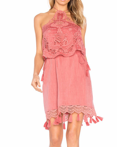 Saylor Carolyn Embroidered Halter Dress in Burnt Red
