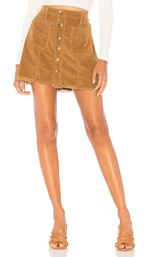 Show Me Your Mumu Sedona Skirt in Stretch Corduroy Hazelnut  MF8-1427