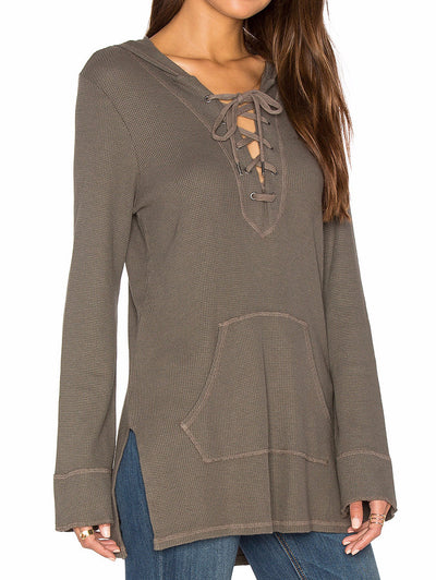 Splendid Weekend Hoodie in Military Olive ST10656