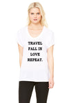 Baer's Den Travel, Fall in Love, Repeat Flowy Raglan Tee BC8801-TRAVEL