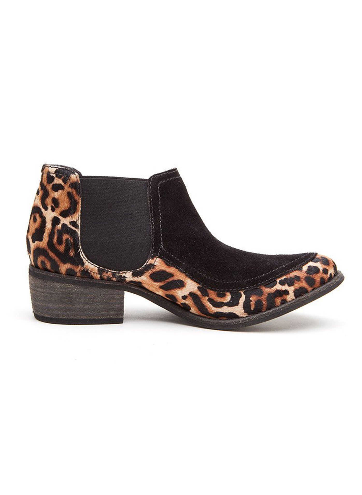 Matisse Ultra Gored Cow Hair Bootie in Black / Leopard Cowhair