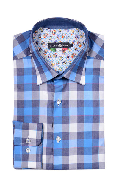 Stone Rose Melange Check Button Down Shirt VCE6103