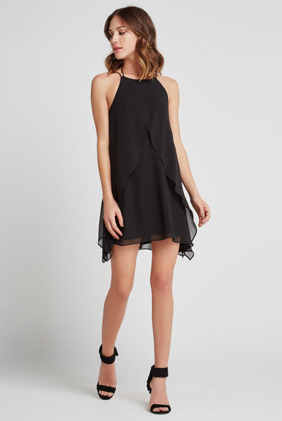 BCBGeneration Ruffle Halter Dress in Black VDW65B59