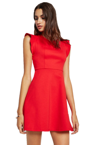BCBGeneration Ponte Flutter-Sleeve Dress XGN66D36