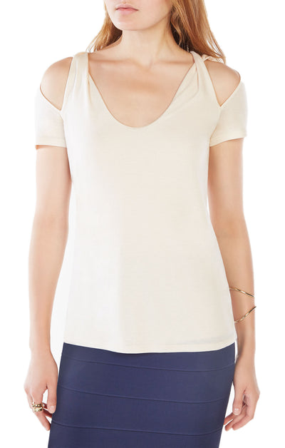BCBGMAXAZRIA Louella Cold Shoulder Top in Corozo YEQ1W926