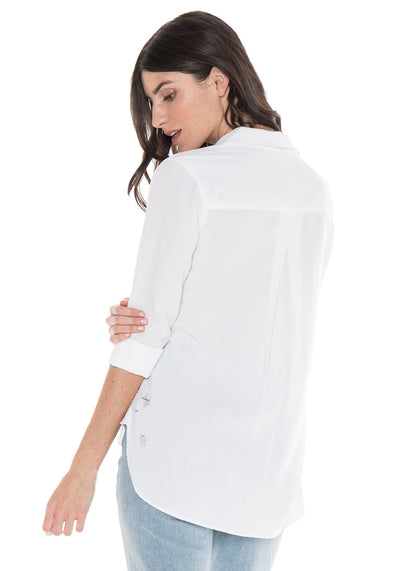 Bella Dahl Ripped Shirt Tail Button Down Shirt in White B2249-654-303